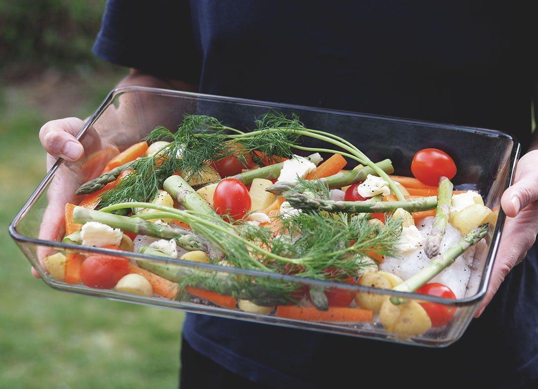 torsk i ugn med grönsaker