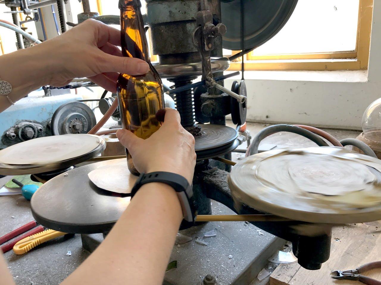 återvunna glas ölflaskor