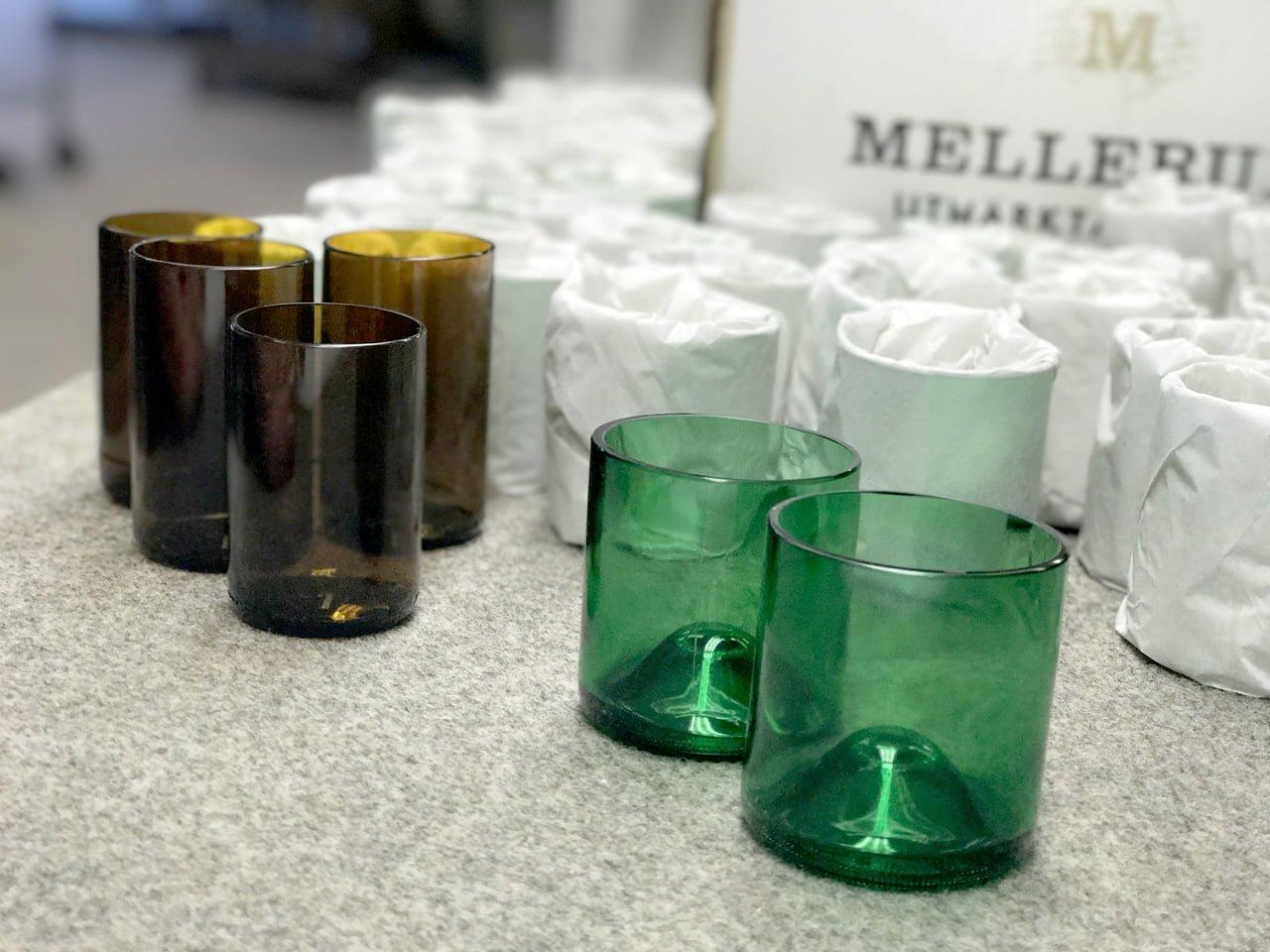 återvunna glas ölflaskor vinflaskor