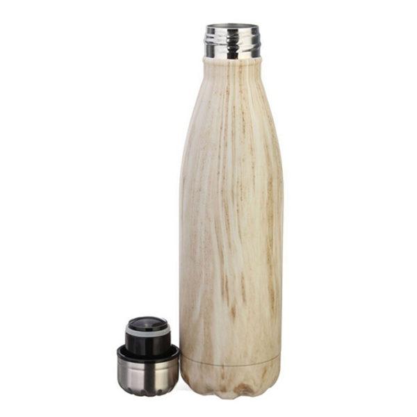 vattenflaska rostfritt stål trämönster