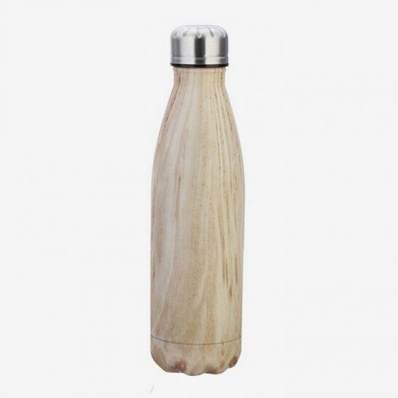 flaska rostfritt stål wood