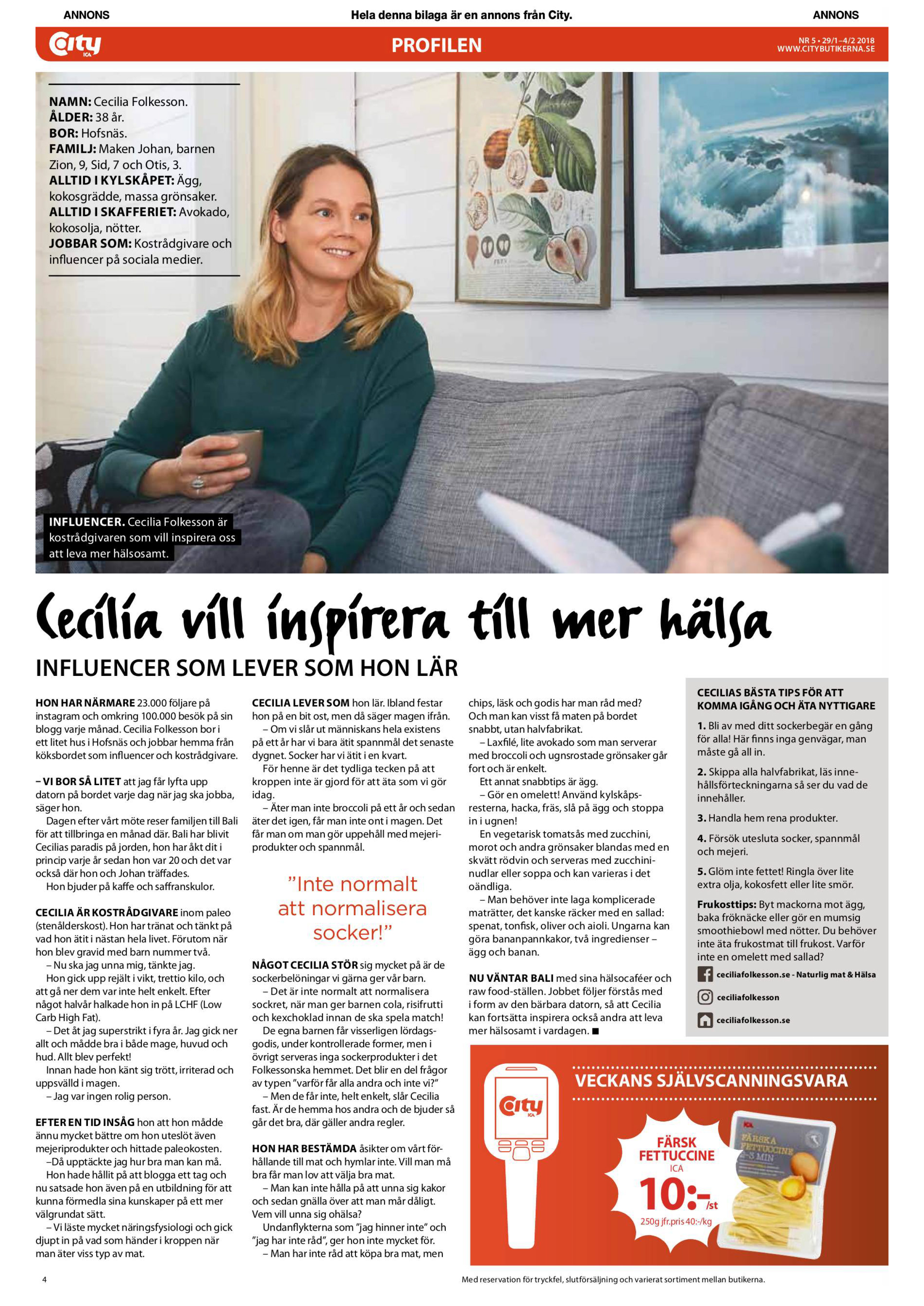 ICA City tidning cecilia folkesson