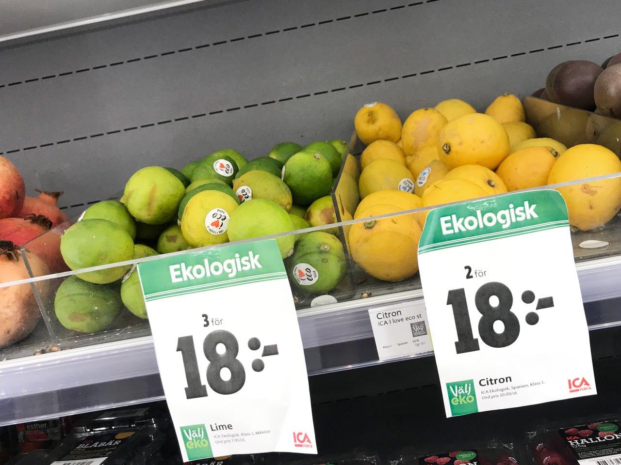 ekologisk lime citron